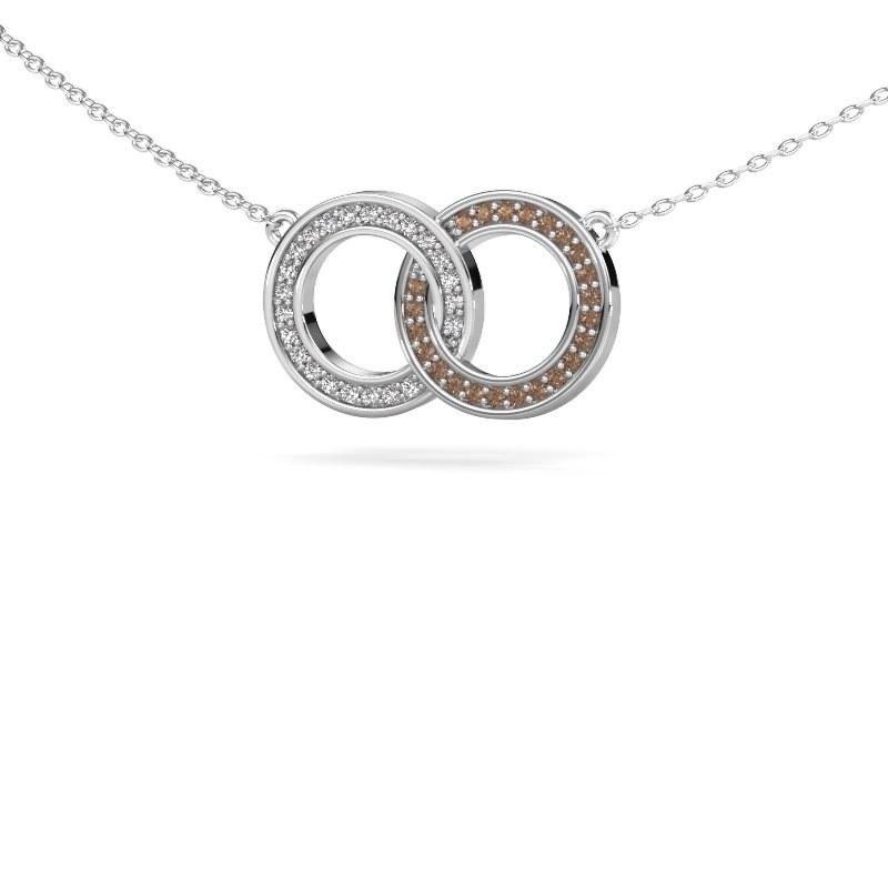 Ketting Circles 1 925 zilver bruine diamant 0.23 crt