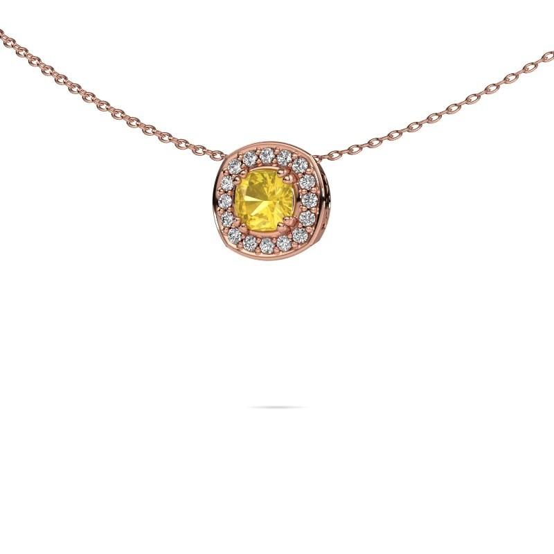Ketting Carolina 375 rosé goud gele saffier 5 mm