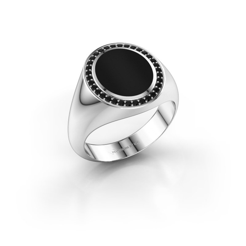 Signet ring Adam 2 585 white gold onyx 12x10 mm