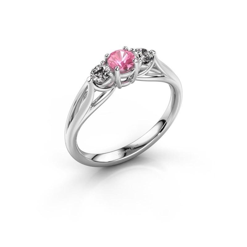 Verlovingsring Amie RND 950 platina roze saffier 4.2 mm