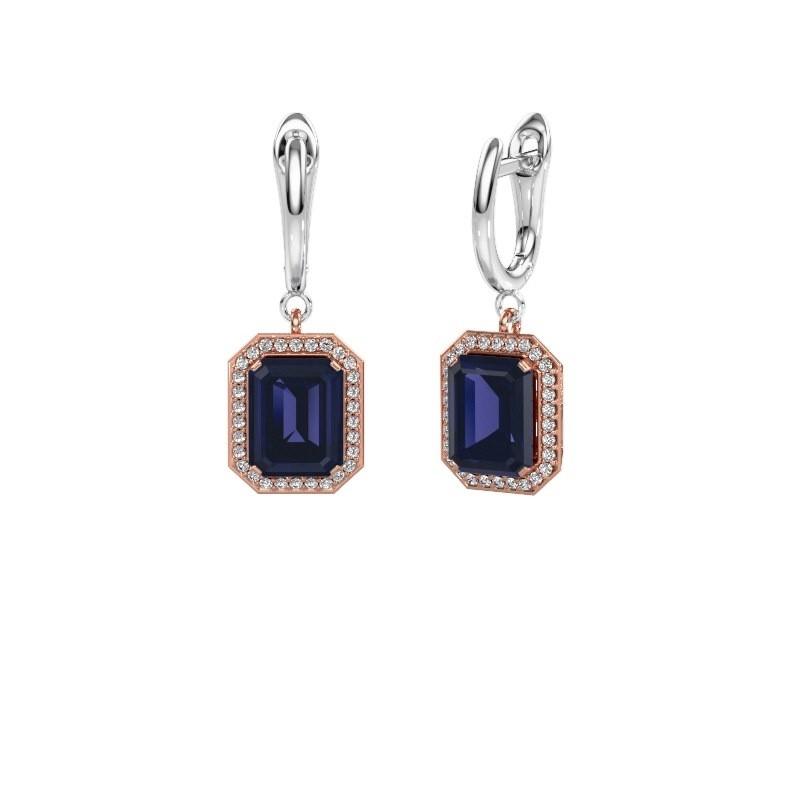 Drop earrings Dodie 1 585 rose gold sapphire 9x7 mm