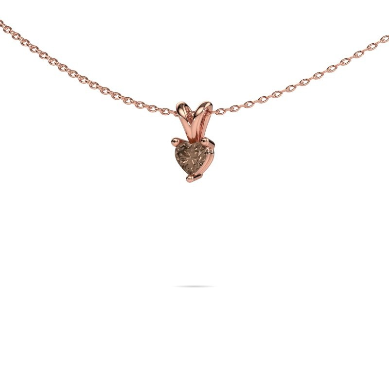 Ketting Garnet 375 rosé goud bruine diamant 0.25 crt