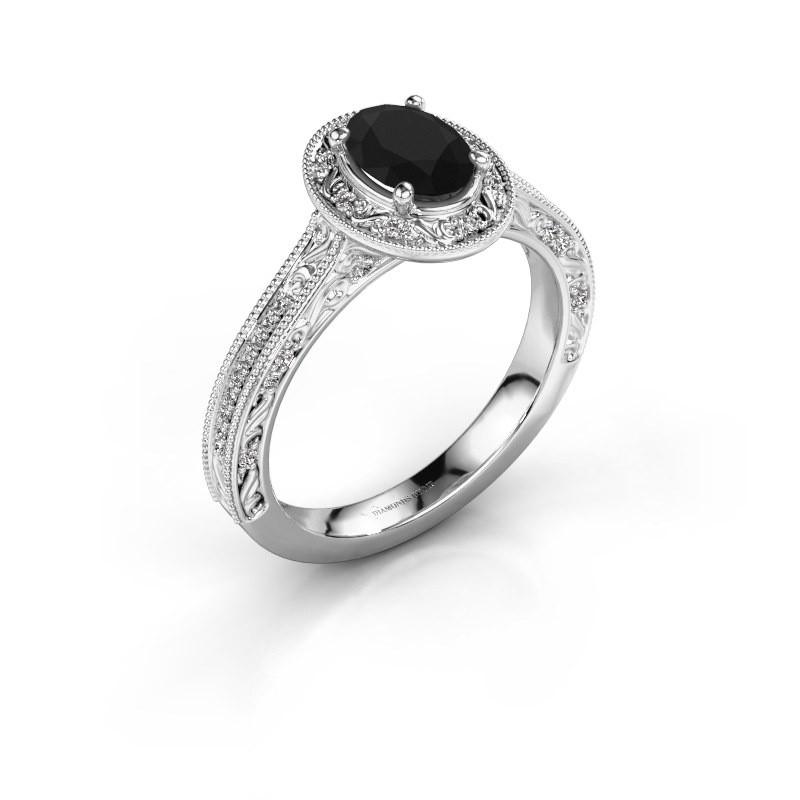 Verlovingsring Alice OVL 925 zilver zwarte diamant 1.065 crt