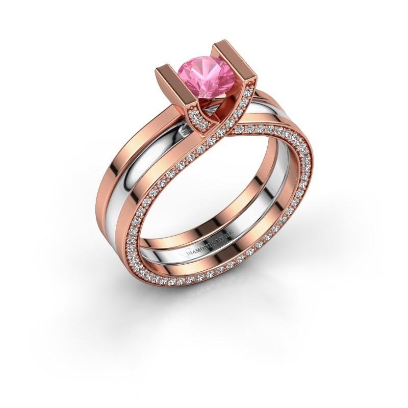 Verlobungsring Kenisha 585 Roségold Pink Saphir 5 mm