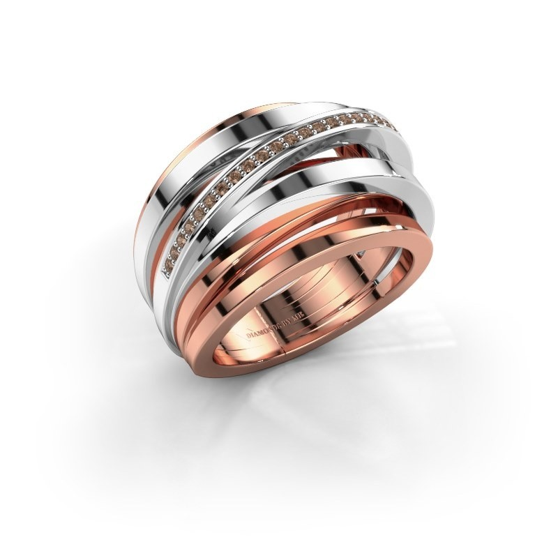 Ring Swinda 585 rosé goud bruine diamant 0.125 crt
