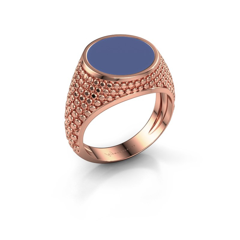 Zegelring Zachary 2 375 rosé goud blauwe emaille 12 mm