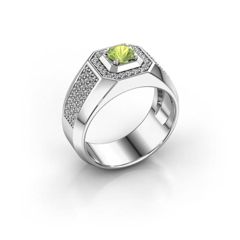Heren ring Pavan 375 witgoud peridoot 5 mm