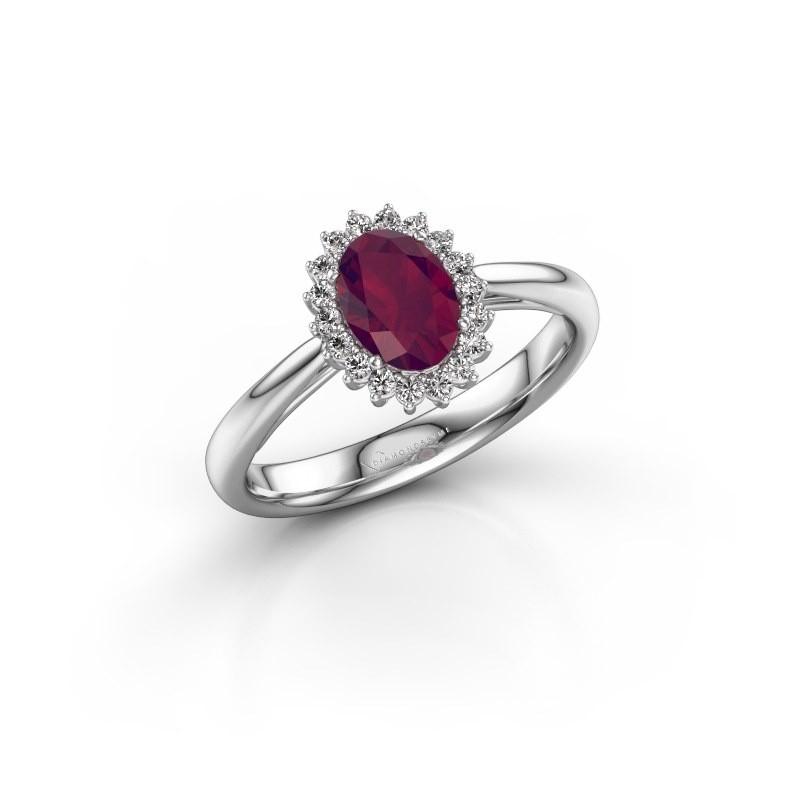 Engagement ring Tilly ovl 1 585 white gold rhodolite 7x5 mm