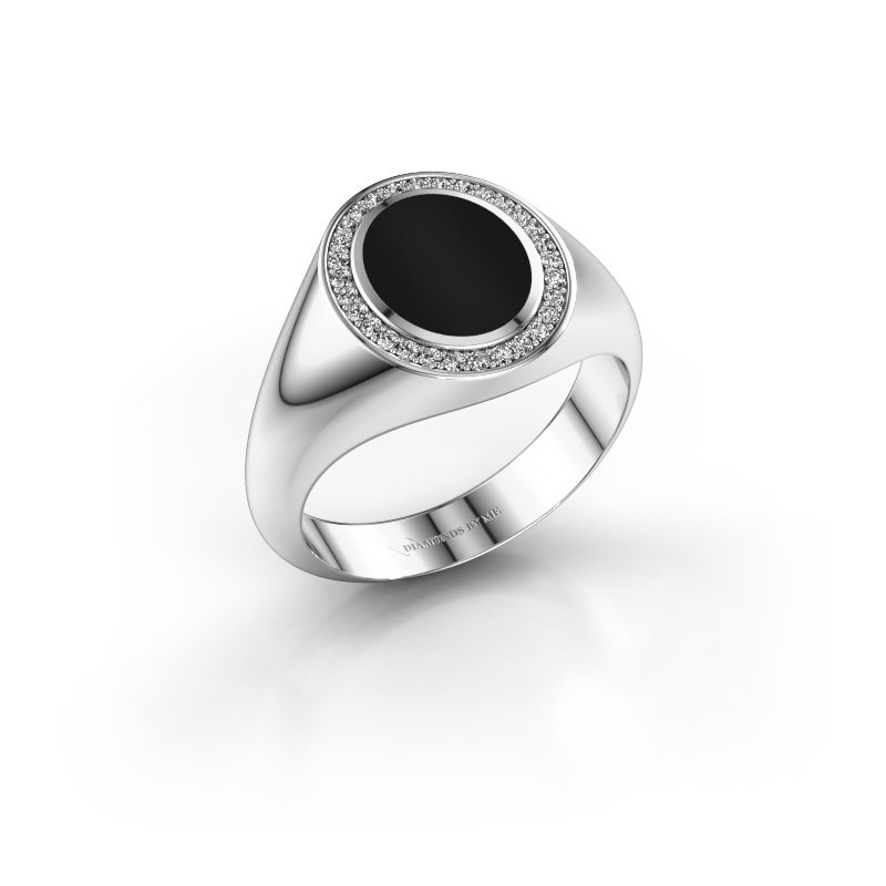 Pinky ring Adam 1 375 white gold onyx 10x8 mm