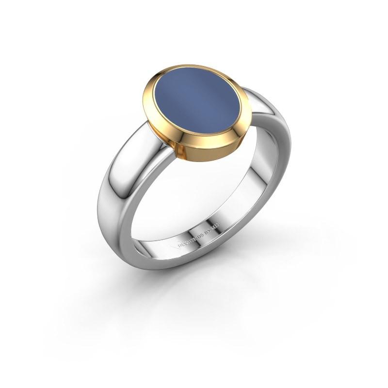Zegelring Freeda 1 585 witgoud blauw lagensteen 10x8 mm