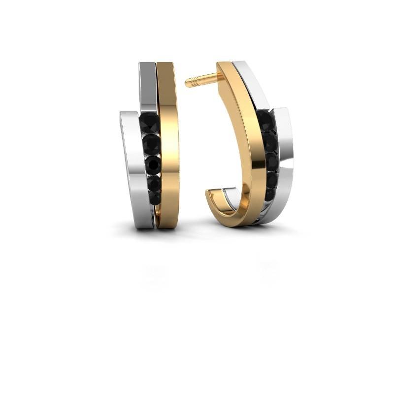 Oorbellen Cato 585 goud zwarte diamant 0.30 crt