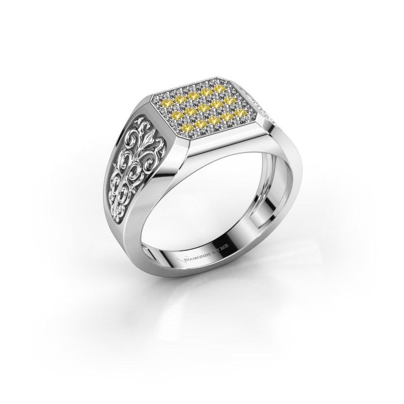 Herrenring Amir 925 Silber Gelb Saphir 1.4 mm