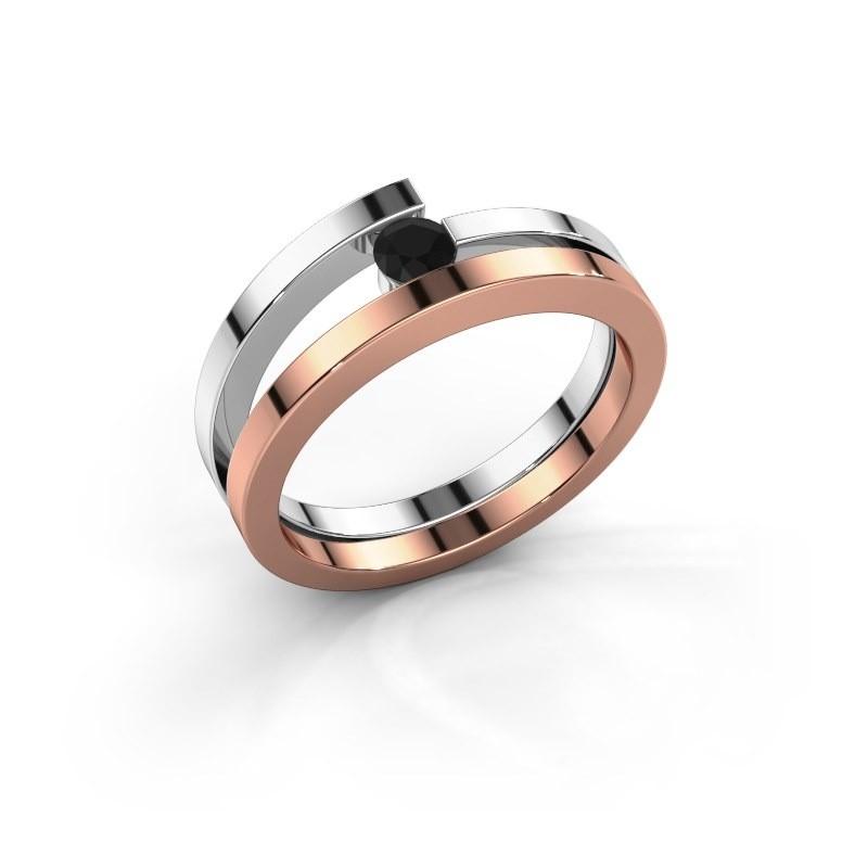 Ring Sandy 585 rosé goud zwarte diamant 0.18 crt