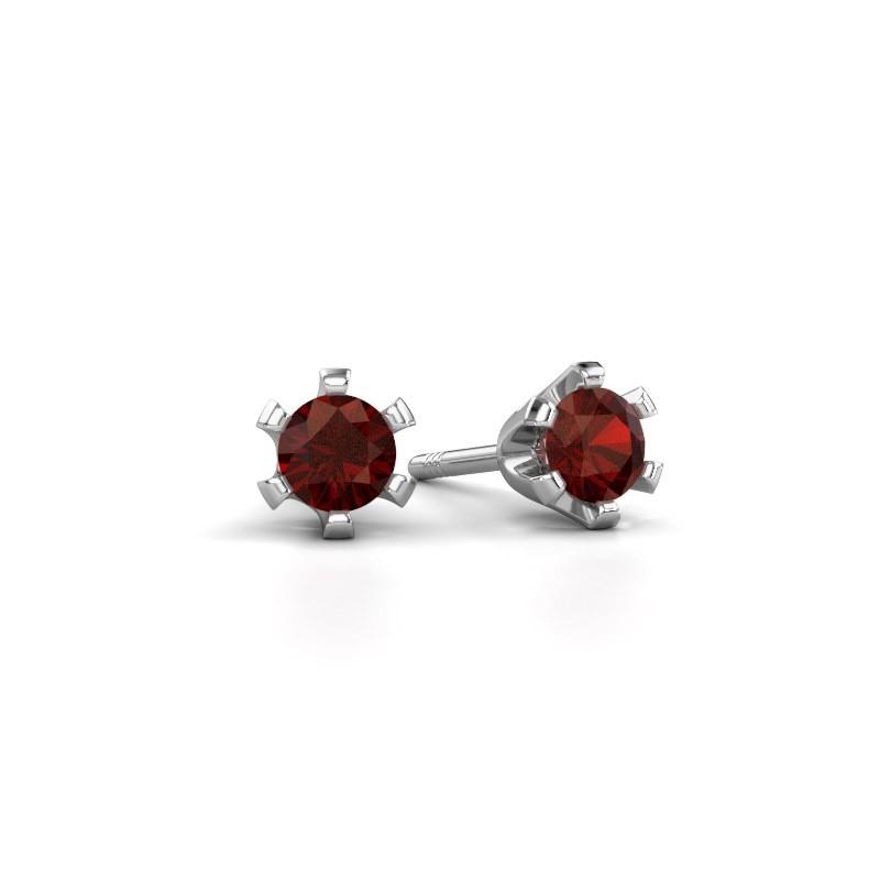 Stud earrings Shana 925 silver garnet 4 mm