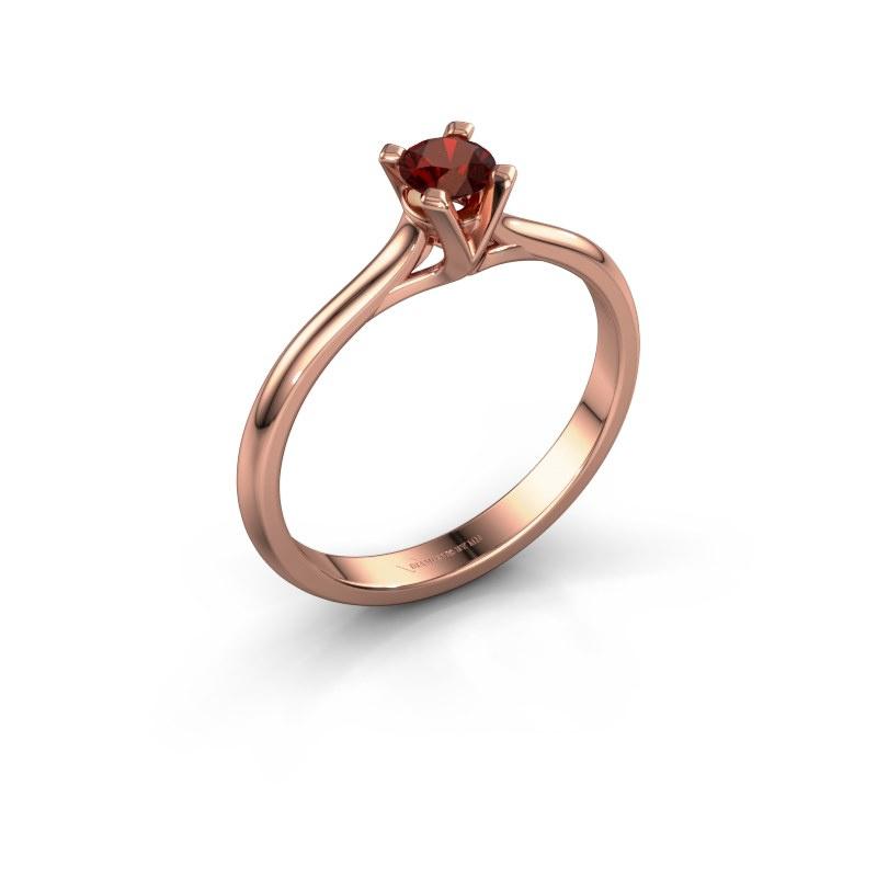 Verlovingsring Isa 1 585 rosé goud granaat 4 mm