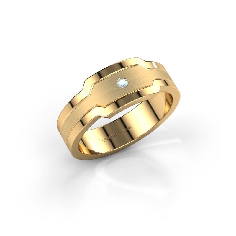 Heren ring Guido 585 goud aquamarijn 2 mm