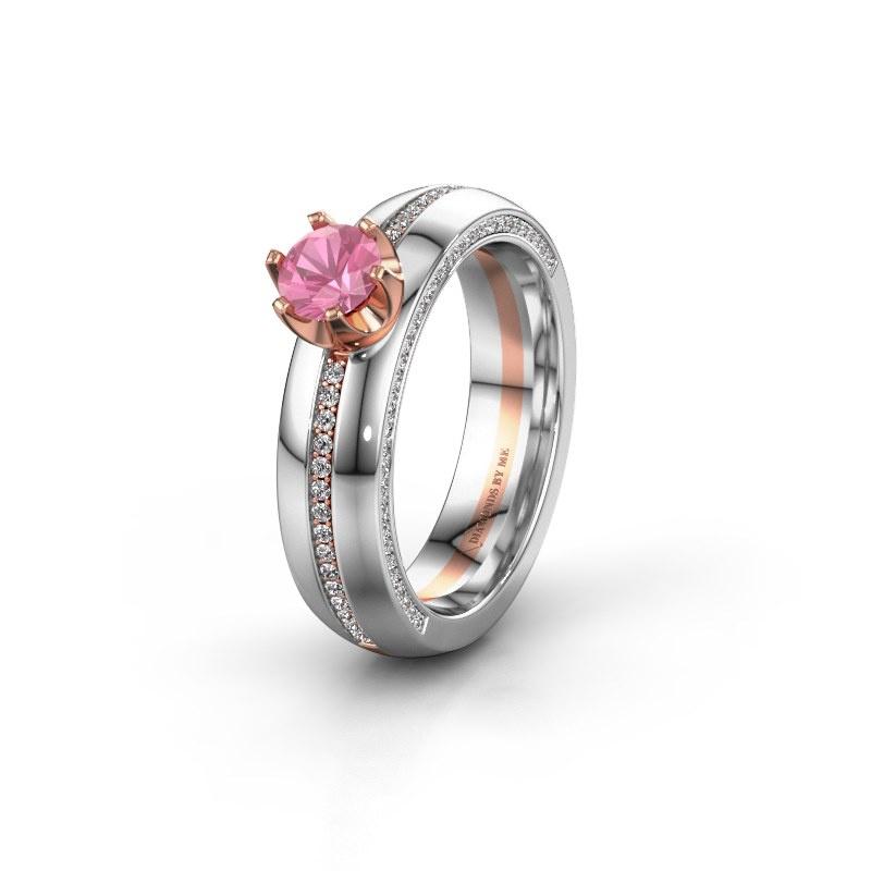 Huwelijksring WH0416L25E 585 rosé goud roze saffier ±5x2.6 mm
