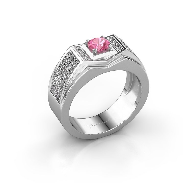 Men's ring Marcel 925 silver pink sapphire 5 mm