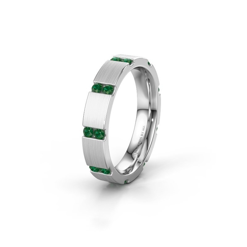 Weddings ring WH2132L14BM 925 silver emerald ±4x2.2 mm