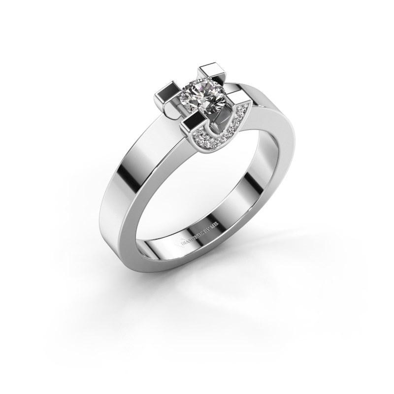 Verlovingsring Jasmijn 1 585 witgoud lab-grown diamant 0.38 crt