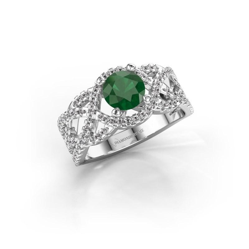 Verlovingsring Jeni 925 zilver smaragd 6.5 mm