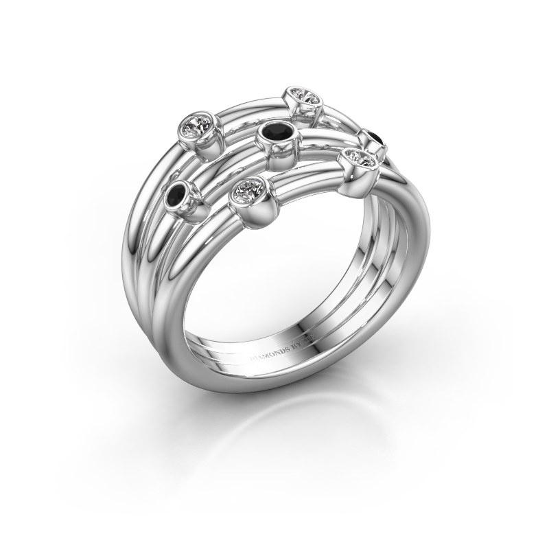 Bague Chloe 585 or blanc diamant noir 0.192 crt