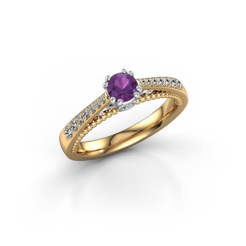 Verlovingsring Rozella 585 goud amethist 4.2 mm