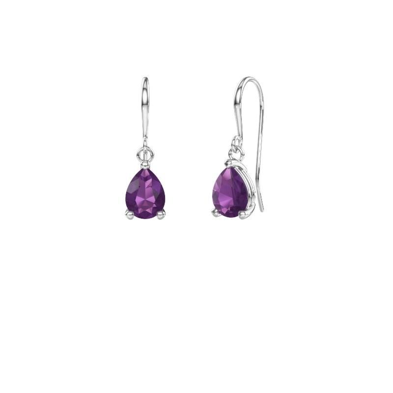 Drop earrings Laurie 1 950 platinum amethyst 8x6 mm