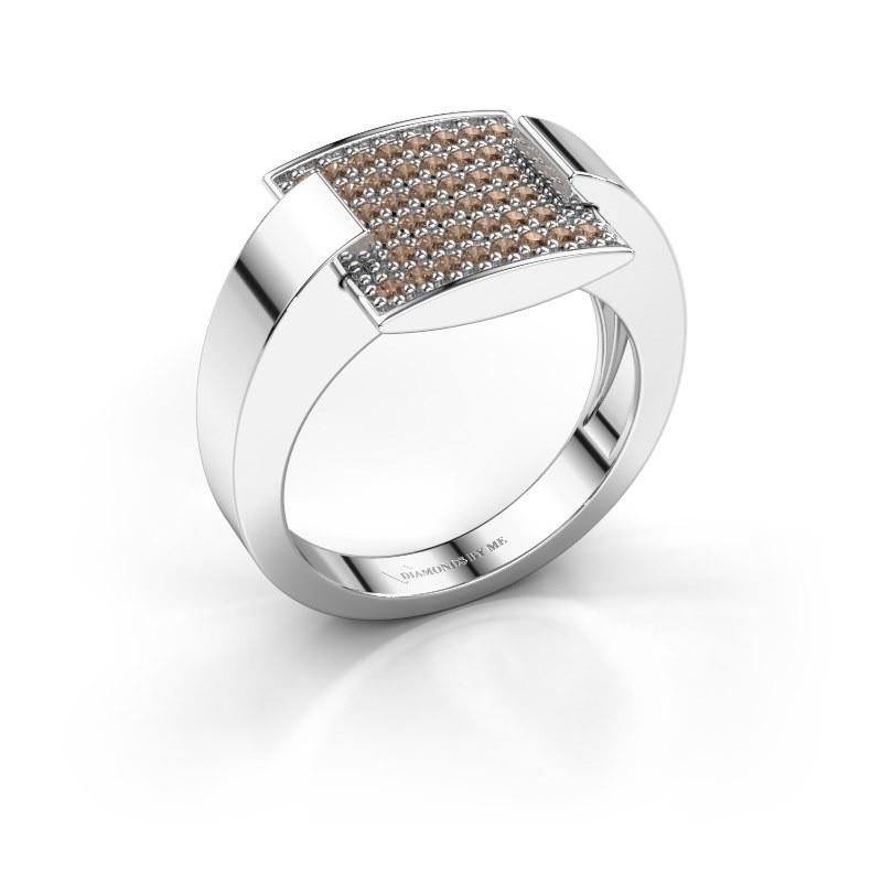Ring Silke 950 platina bruine diamant 0.30 crt