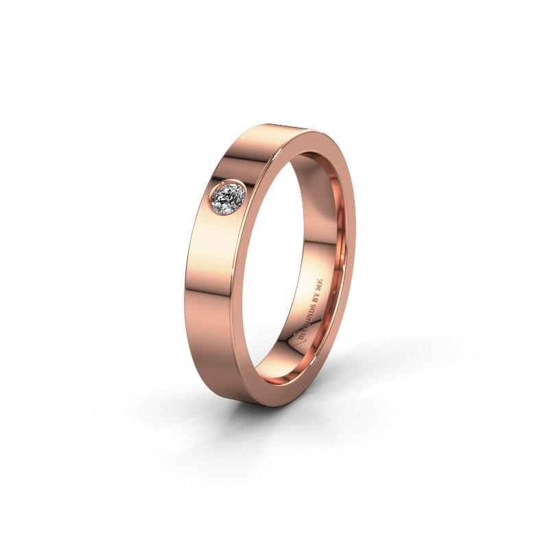 Trouwring WH0101L14BP 375 rosé goud diamant ±4x1.5 mm