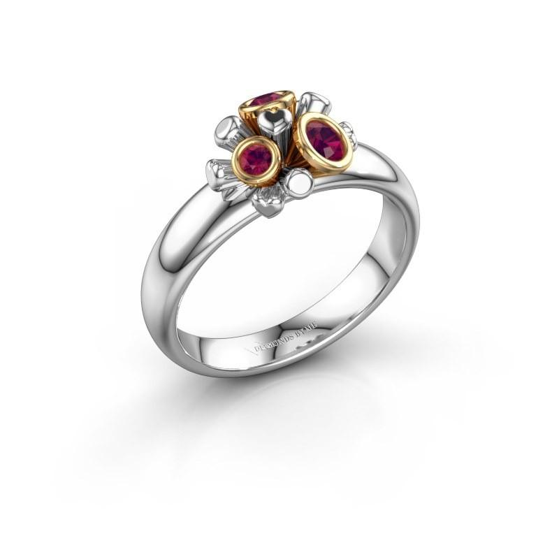 Ring Pameila 585 witgoud rhodoliet 2 mm