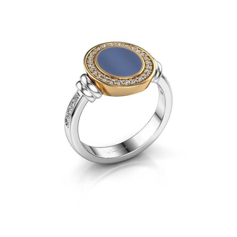 Zegelring Bailey 585 witgoud blauw lagensteen 10x8 mm