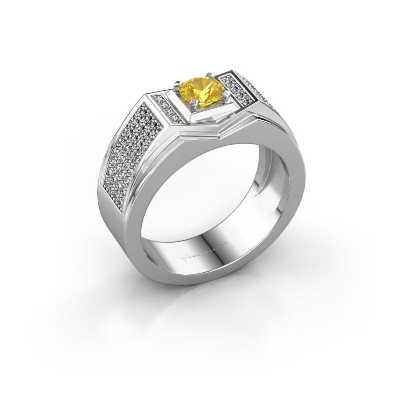 Men's ring Marcel 375 white gold yellow sapphire 5 mm