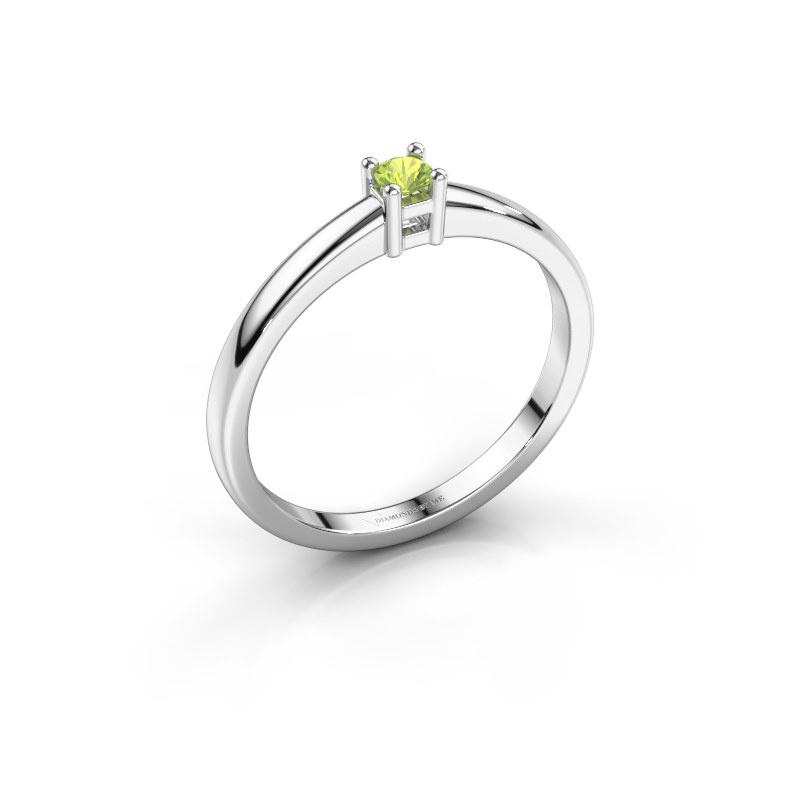 Promise ring Eline 1 950 platina peridoot 3 mm