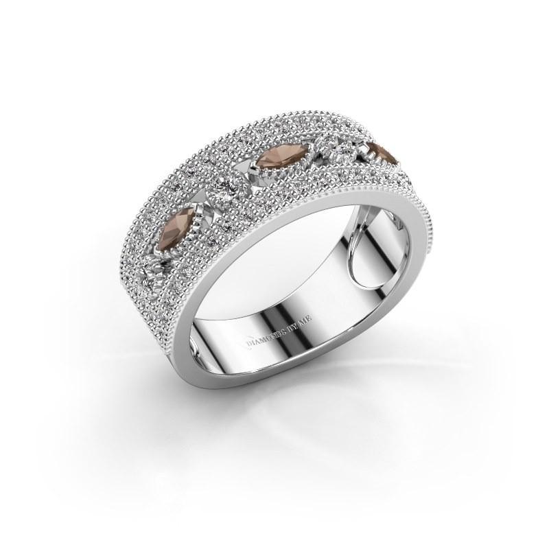 Ring Henna 950 platina rookkwarts 4x2 mm
