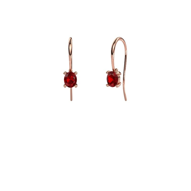 Drop earrings Cleo 375 rose gold ruby 6x4 mm