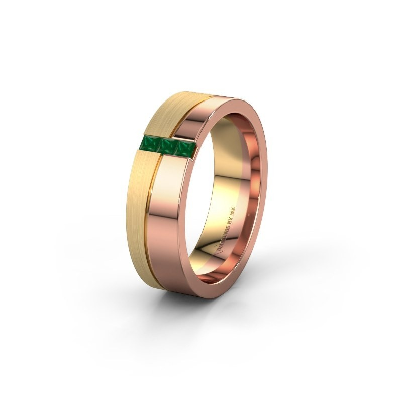 Wedding ring WH0906L16A 585 rose gold emerald ±6x1.7 mm