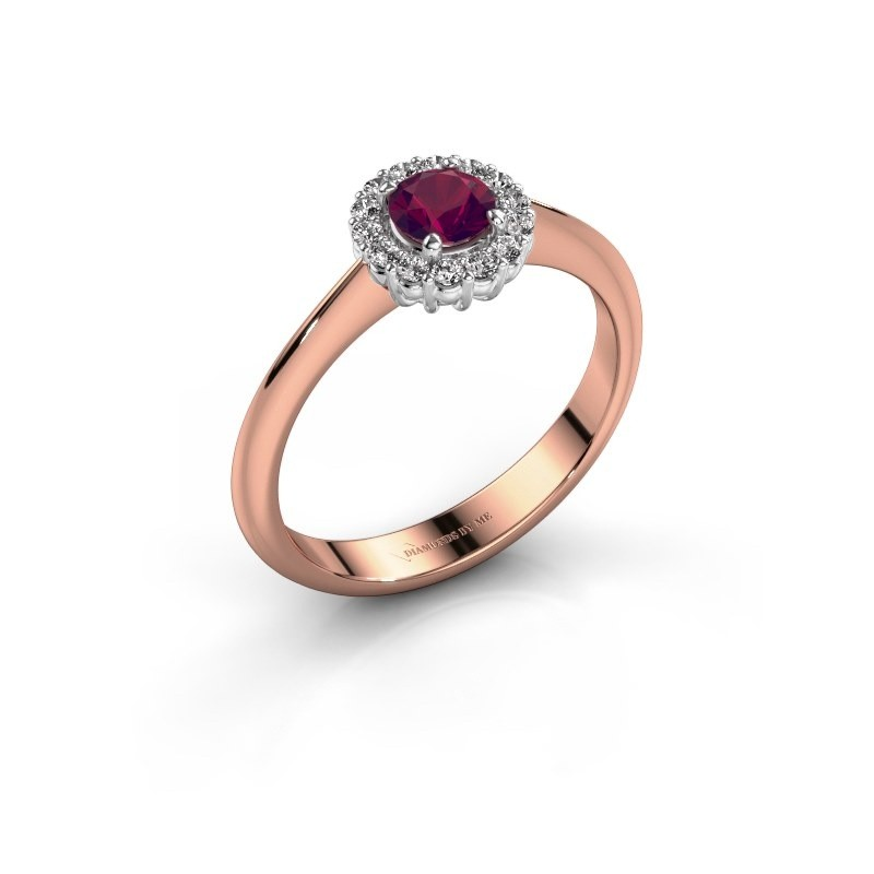Verlovingsring Anca 585 rosé goud rhodoliet 4.2 mm