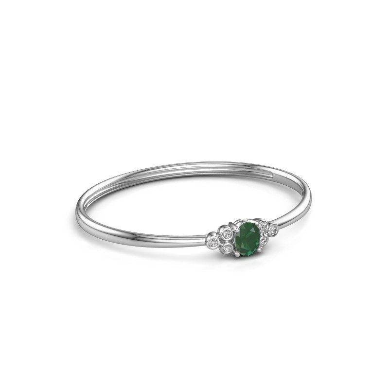 Bangle Lucy 585 white gold emerald 8x6 mm