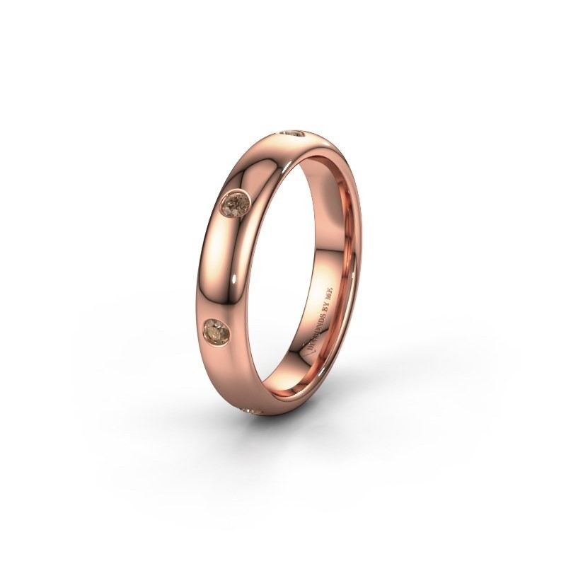 Wedding ring WH0105L34BP 585 rose gold brown diamond ±4x2 mm
