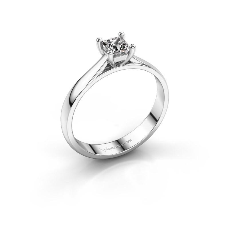 Engagement ring Sam Square 585 white gold zirconia 4 mm