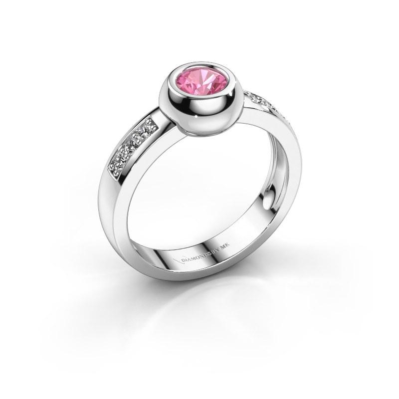 Ring Charlotte Round 585 witgoud roze saffier 4.7 mm