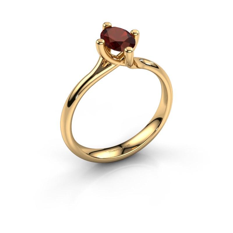 Engagement ring Dewi Oval 585 gold garnet 7x5 mm