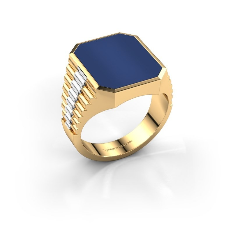 Rolex stijl ring Brent 4 585 goud lapis lazuli 16x13 mm
