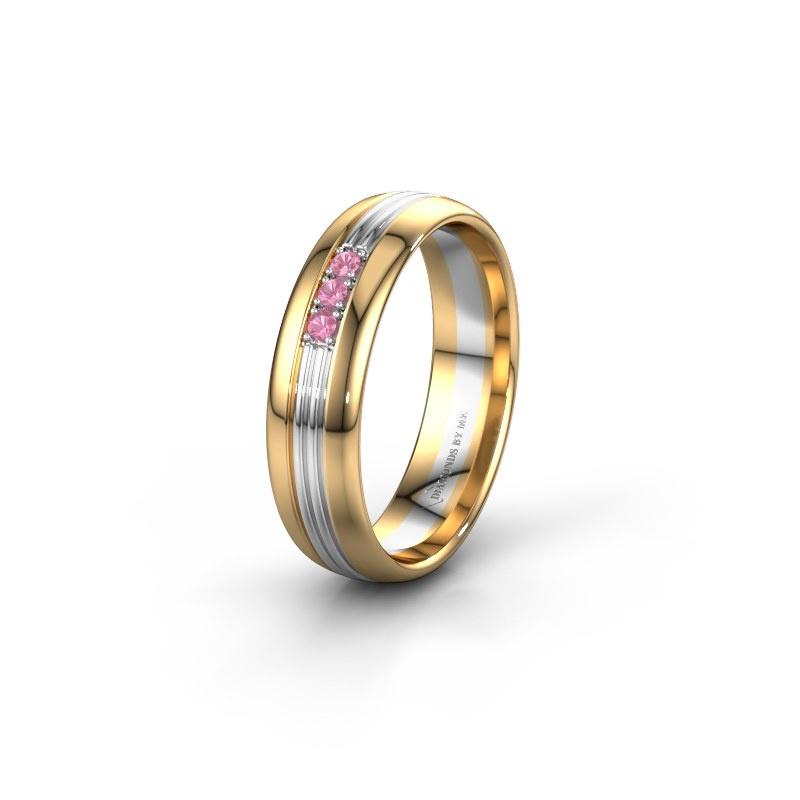 Trouwring WH0405L35X 585 goud roze saffier ±5x1.5 mm