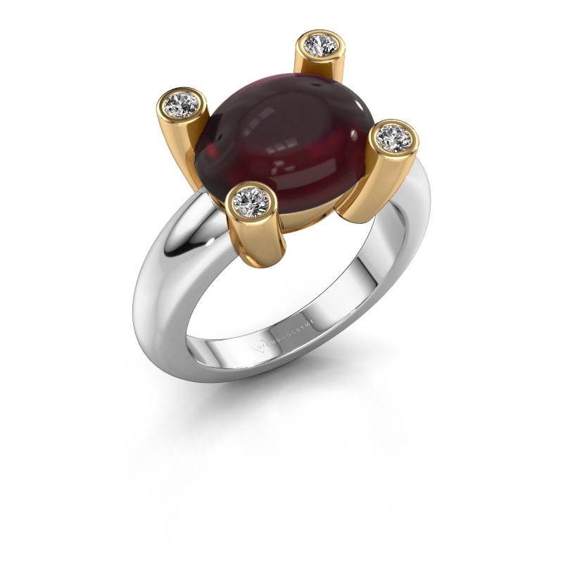 Ring Janice OVL 585 witgoud granaat 12x10 mm