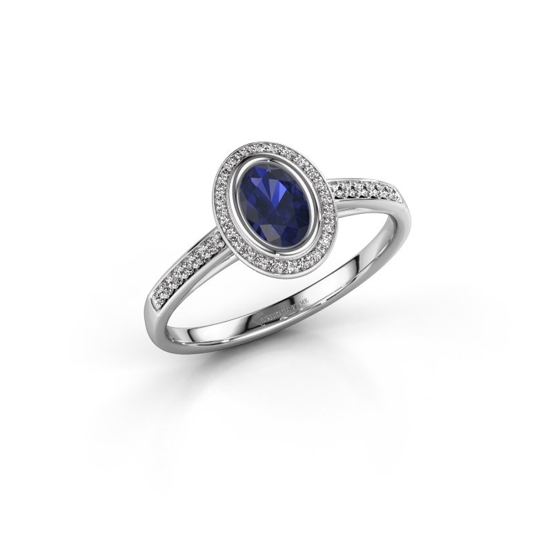 Engagement ring Noud 2 OVL 585 white gold sapphire 6x4 mm