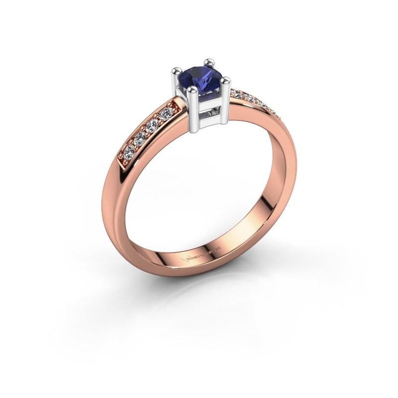 Engagement ring Eline 2 585 rose gold sapphire 3.7 mm