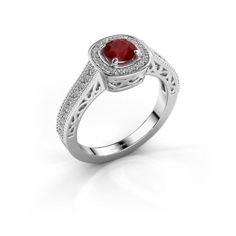 Verlovings ring Candi 585 witgoud robijn 5 mm