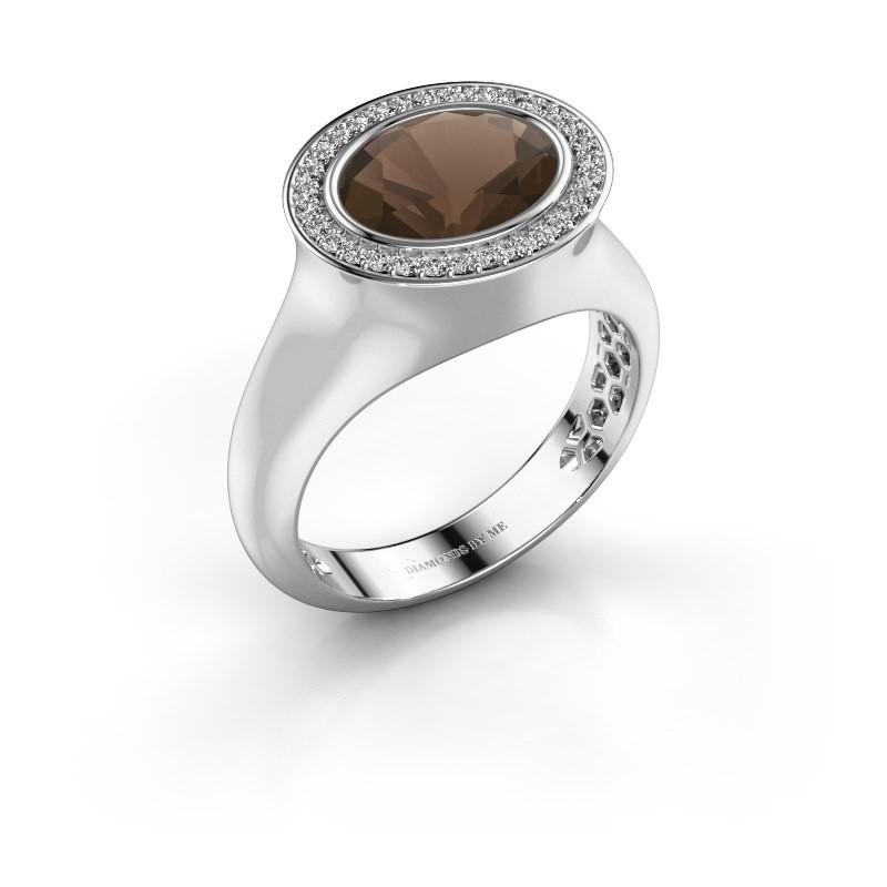 Ring Phebe 925 Silber Rauchquarz 10x8 mm